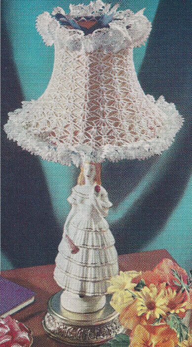 Vintage Crochet PATTERN Lampshade Cover Frilly Small eBay