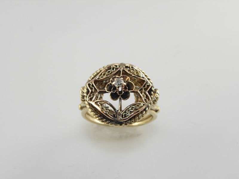 Ladies Vintage Yellow Gold Diamond Dinner Ring Ebay
