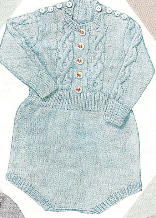 Knitting Pattern Cable Knitted Baby Romper Creepers