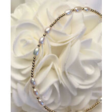 Genuine White Freshwater Pearl 14k Yellow Gold GF Bracelet (2897)
