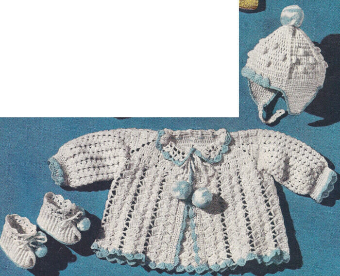 Vintage Crochet Pattern To Make Baby Sacque Hat Booties