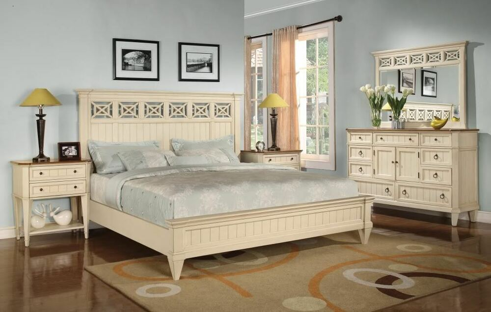 French cottage white king size bed bedroom furniture ebay - French style bedroom furniture sets ...