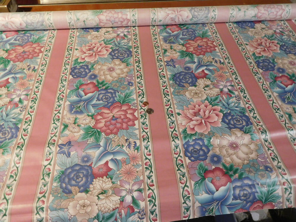 Polished Cotton Floral Stripe Drapery Upholster Fabric New