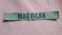 "BLACK & KHAKI MILITARY NAME TAG  "" MACVICAR """