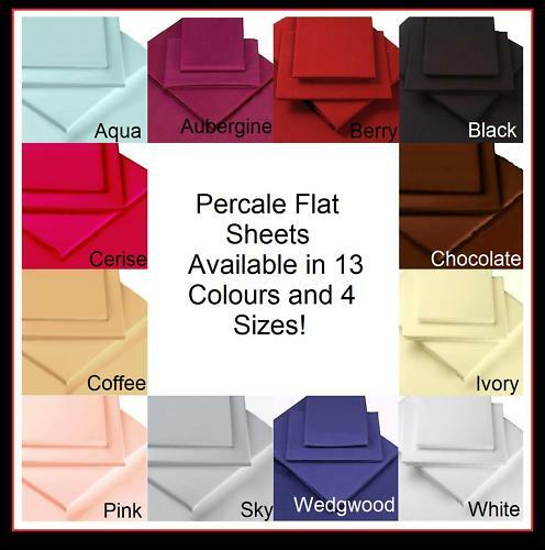 percale bedding flat sheets single double king size ebay. Black Bedroom Furniture Sets. Home Design Ideas