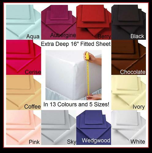 new extra deep single double king super fitted sheets ebay. Black Bedroom Furniture Sets. Home Design Ideas
