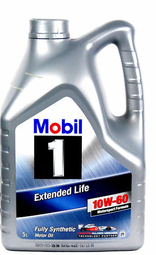 Mobil 1 10w 60 fully synthetic engine oil extended life 5 for Fully synthetic motor oil