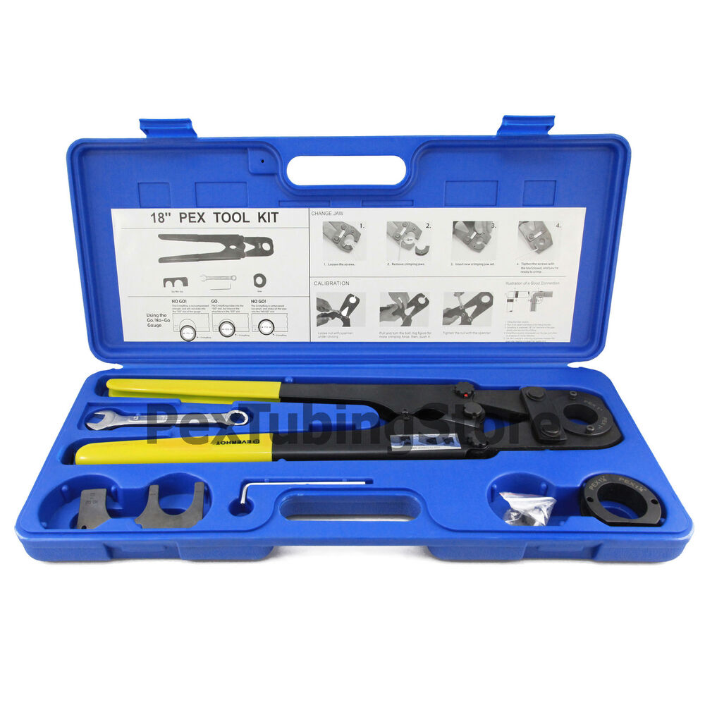 pex crimp tool kit for 1 and 1 1 4 pex tubing ebay. Black Bedroom Furniture Sets. Home Design Ideas