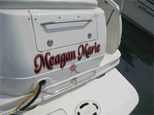 Custom transom side boat rv name vinyl lettering decal for Custom outboard motor decals