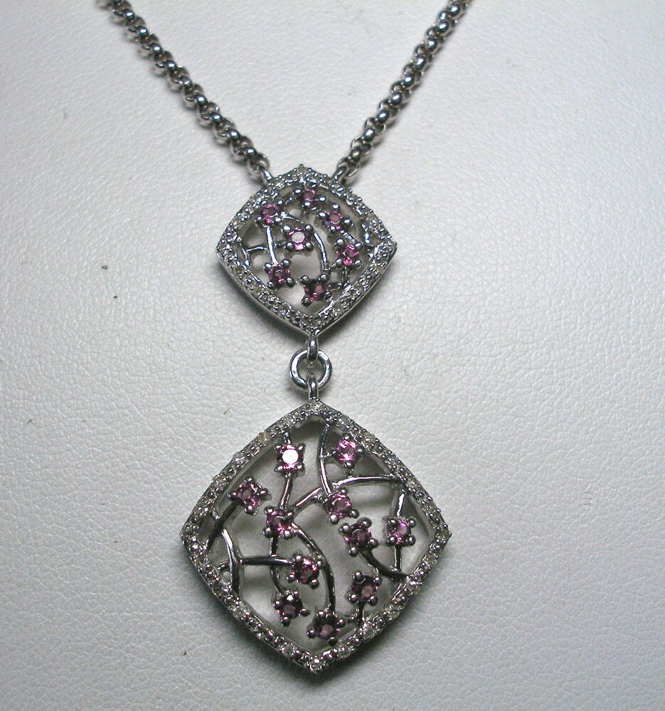 SILVER GENUINE PINK SAPPHIRE & DIAMOND NECKLACE | eBay
