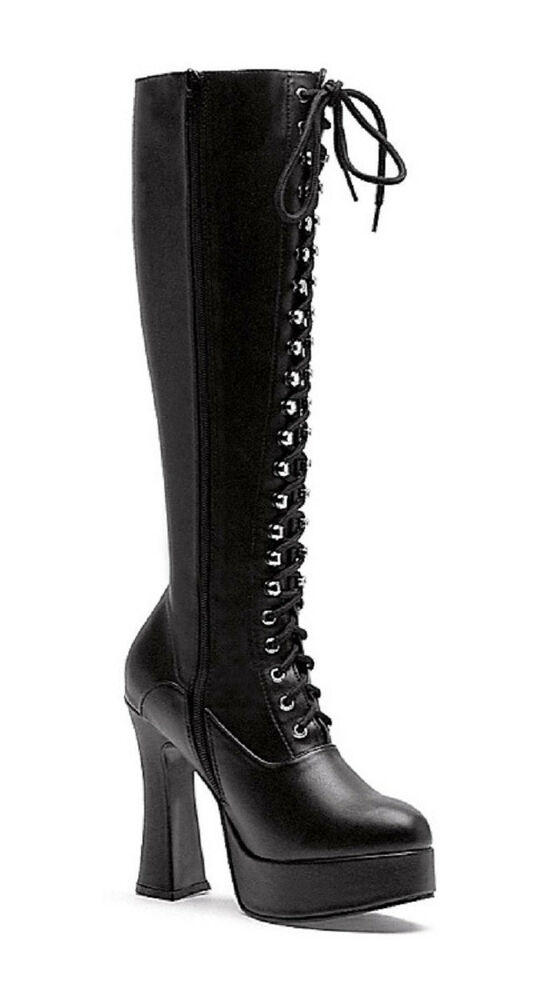 "Vinyl Knee Hi Boots 5"" Chunky Heel Lace-Up Front Larger ..."