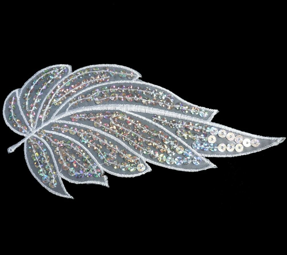 i215 Iron On White+Silver Sequin Applique Flower Leaf | eBay