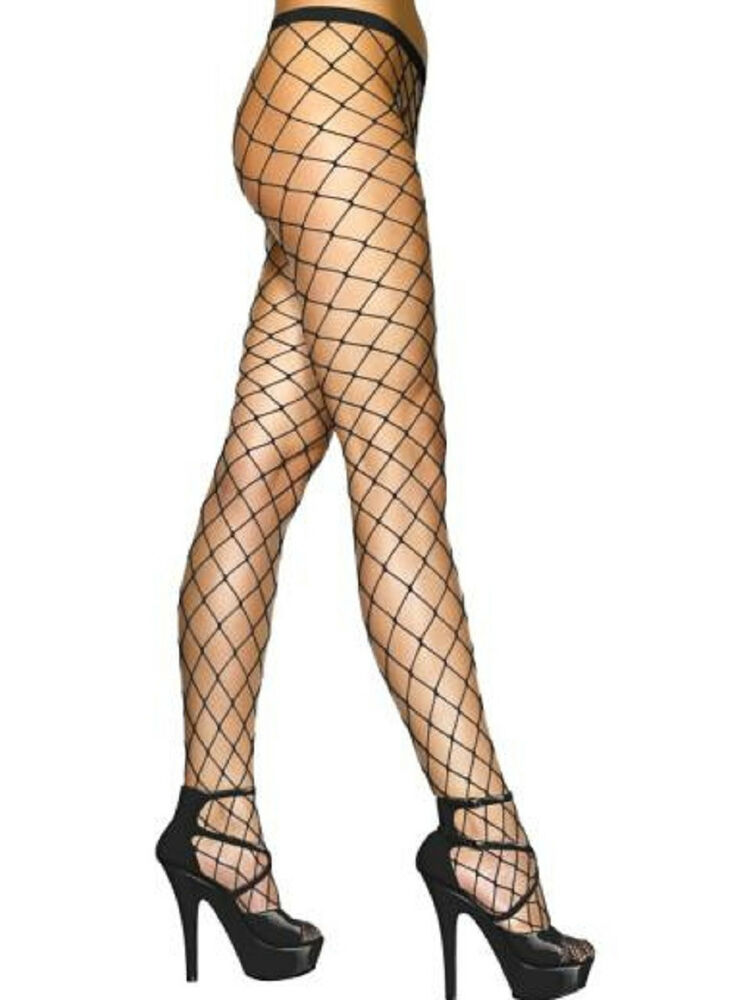 black pantyhose big diamond net stockings nylon spandex tights os 9024 nwt ebay. Black Bedroom Furniture Sets. Home Design Ideas