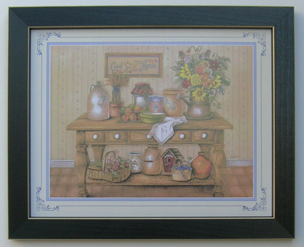 Country kitchen picture framed country picture print for Paintings for house decoration