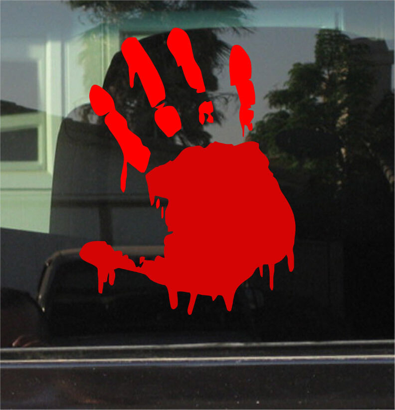 Zombie Bloody Hand Print 8 Inch Vinyl Decal Sticker Ebay