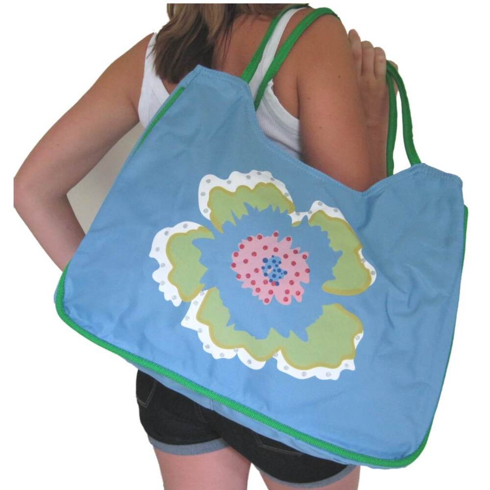 BEACH BAG Large Blue With Flower FloralWhiteHugeTote | EBay