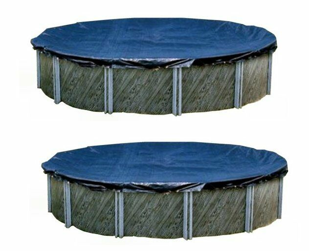 Swimline 24 foot round above ground swimming pool winter cover blue 2 ebay for Round swimming pools above ground