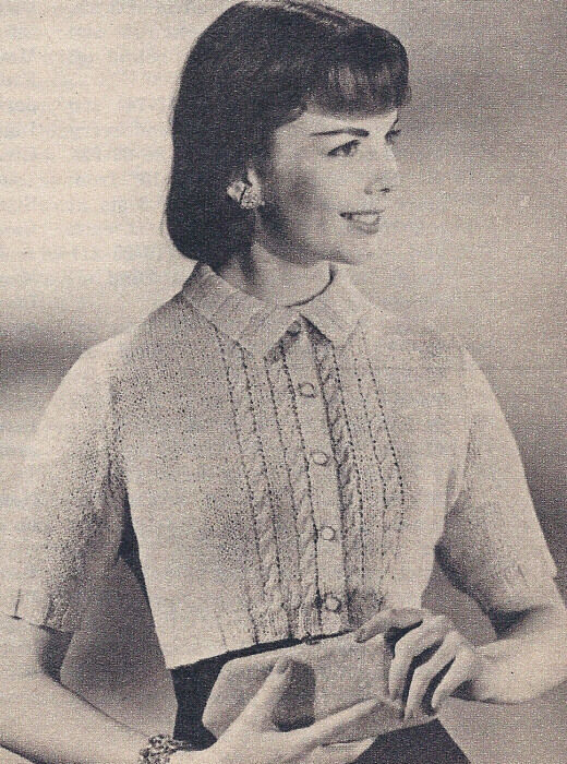 Vintage Knitting PATTERN Cable Cropped Sweater Cardigan eBay