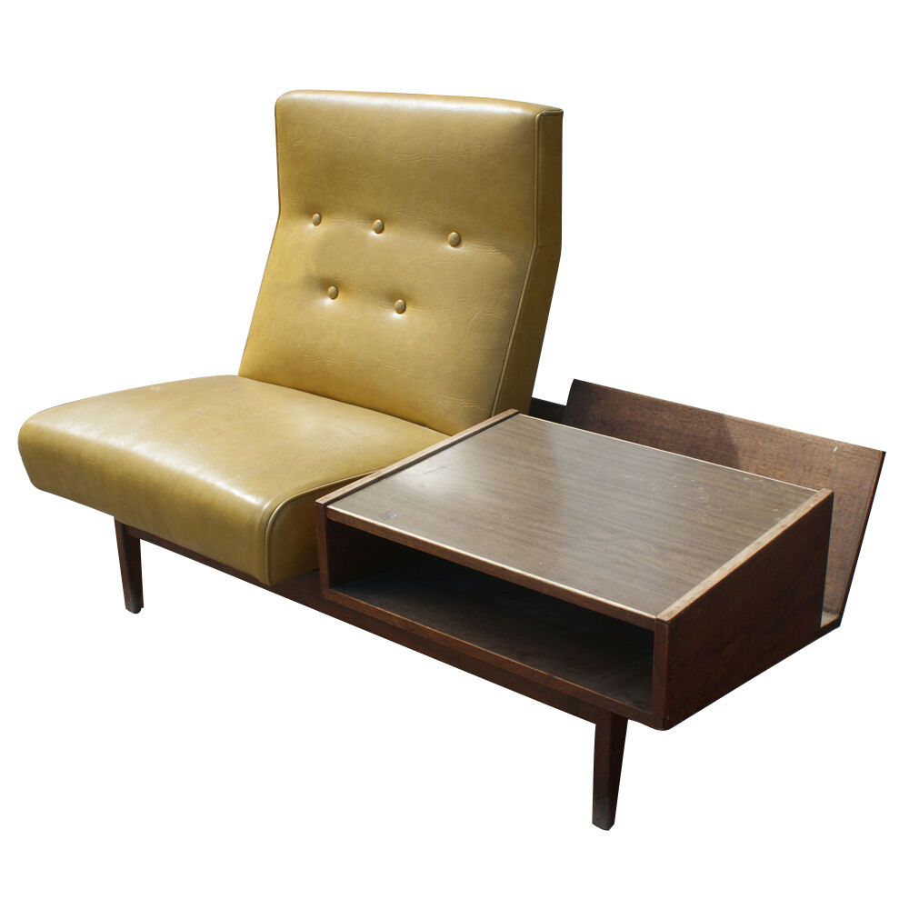 Mid century modern lounge chair with side table ebay for Stylish lounge chairs
