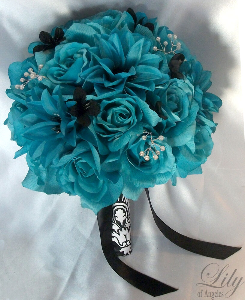 Turquoise Flowers For Wedding: 17pieces Wedding Bridal Bouquet Flowers TURQUOISE PEARLS