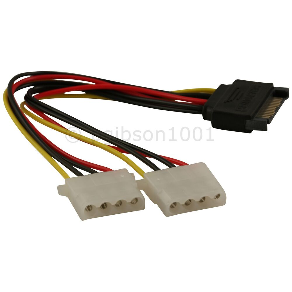 Sata Power Splitter : Sata pin male to dual molex female power splitter