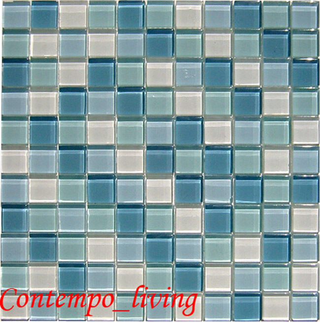 Crystal glass tile glass mosaic for counter top 9 sqft ebay for Mosaic tile bar top