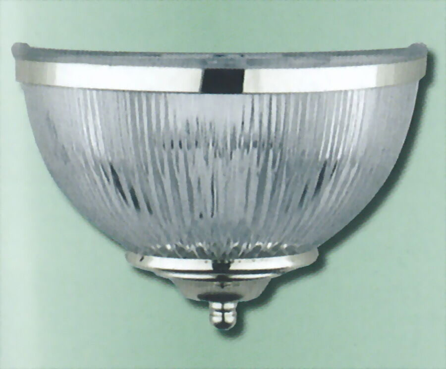 Ribbed Glass Wall Lights : BRUSHED NICKEL AND CLEAR RIBBED GLASS WALL SCONCE eBay