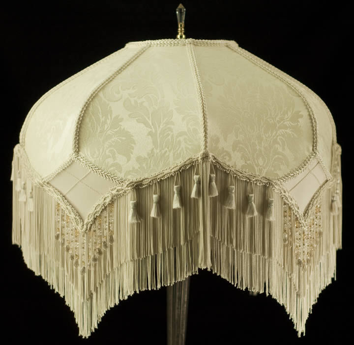 Stunning Vintage Look Victorian Lampshade Ivory Damask