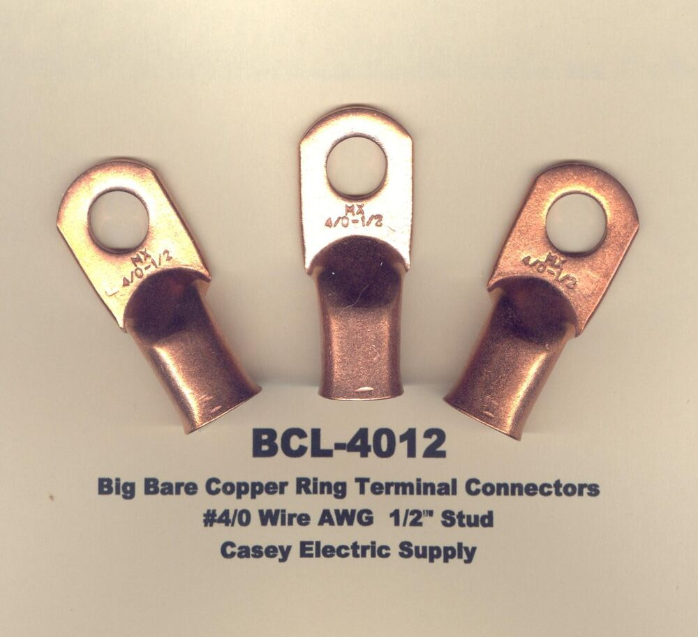 5 Bare Battery COPPER Ring Terminal Connector #4/0 Wire Gauge 1/2 ...