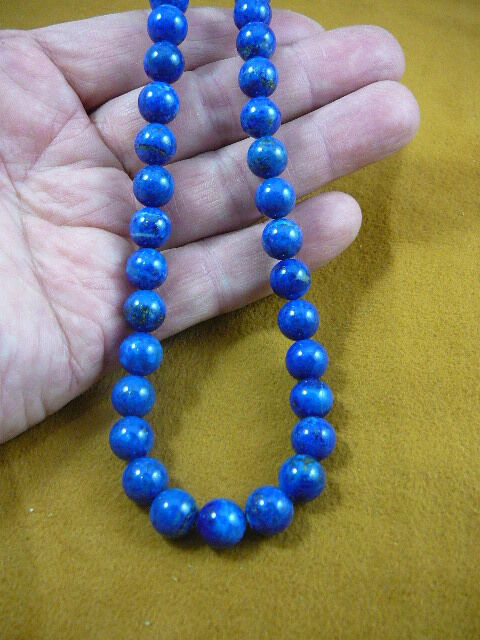 V657 23 18 Quot Long Blue Lapis Lazuli Bead Beaded Necklace