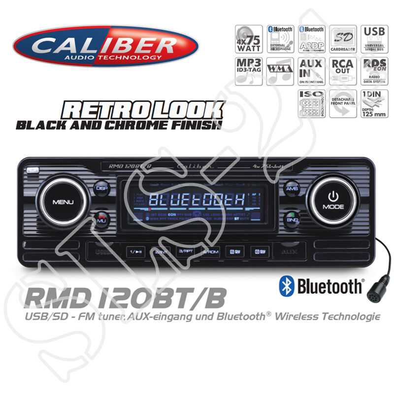 caliber rmd120bt bluetooth autoradio usb sd retro design. Black Bedroom Furniture Sets. Home Design Ideas