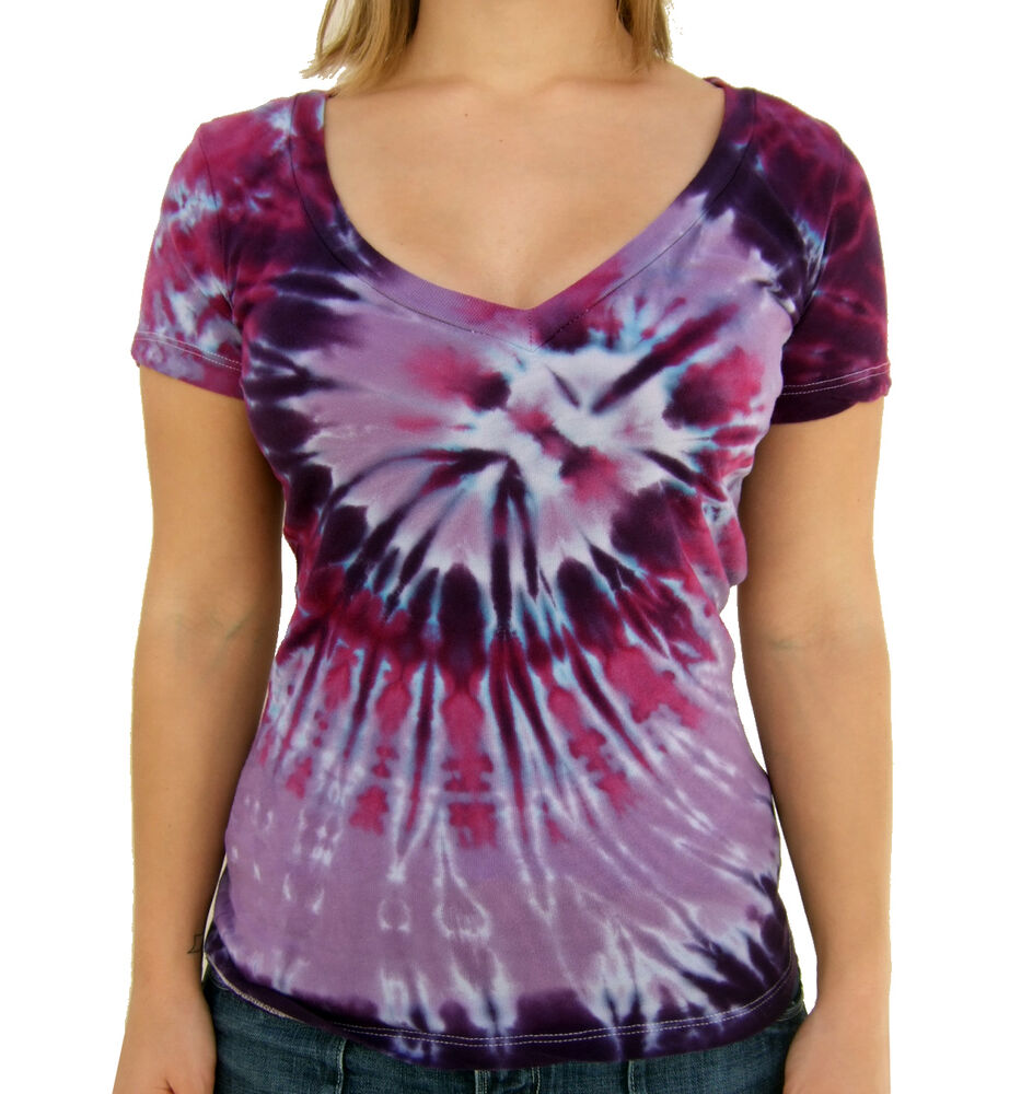 Ladies Deep V Neck Tie Dye Tri Purple Spiral Fitted T