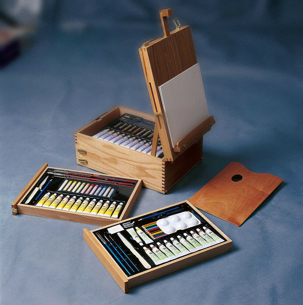 Every media art kit portable wooden easel box packed for Professional painting supplies