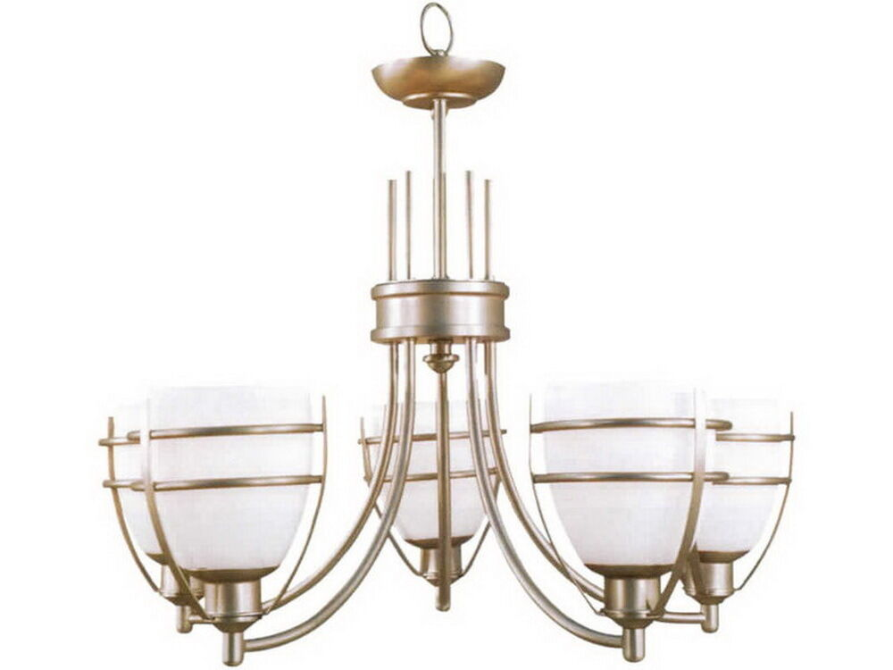 Monument Lighting 617091 Decorative 4 Light Vanity Fixture: Brushed Nickel And Alabster Glass 5 Light Chandelier 27