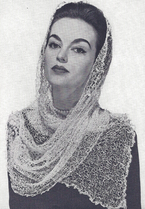 Vintage Knitting PATTERN to make Knitted Lace Scarf Mantilla Head Cover Wispy...