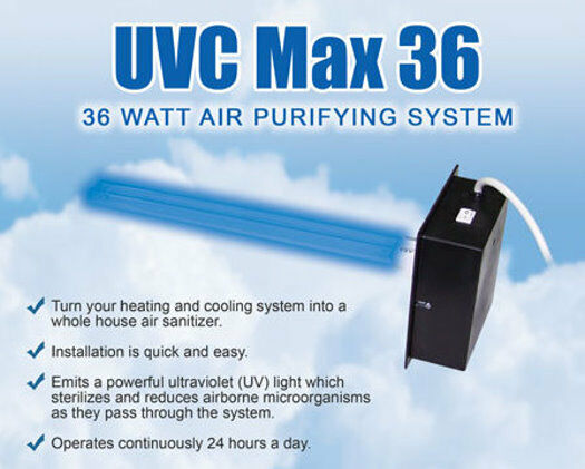 uvc max36 air purifying system uv light for furnace ac ebay. Black Bedroom Furniture Sets. Home Design Ideas