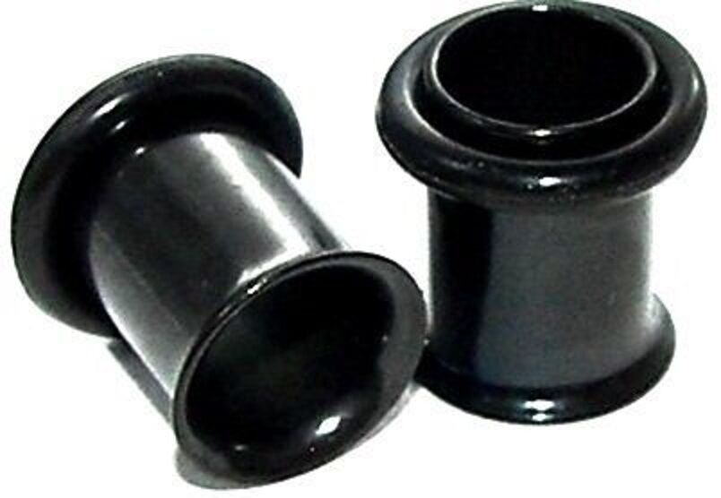 Pair 00 GAUGE Black Titanium SINGLE FLARE TUNNELS Eyelets ...