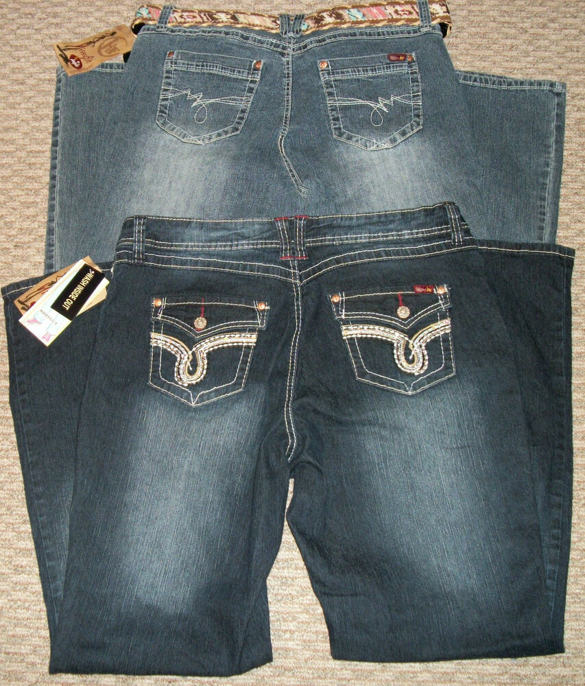 NWT ANGELS HISSYFIT CRYSTAL BELTED DENIM JEANS WOMEN'S ... - photo#35