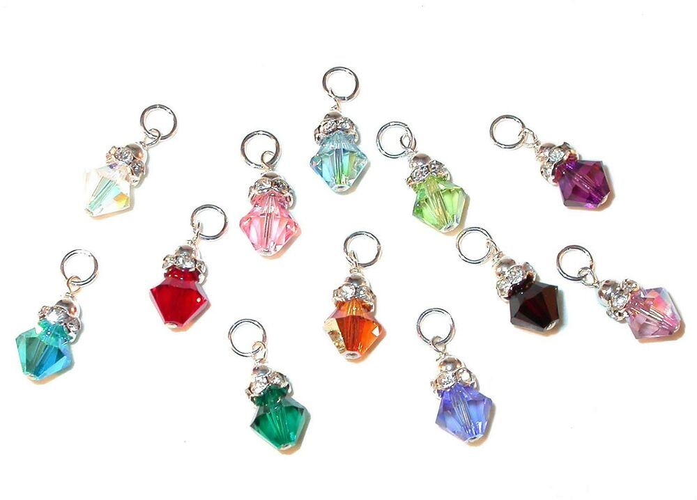 crystal birthstone charm swarovski elements sterling silver any month ebay. Black Bedroom Furniture Sets. Home Design Ideas