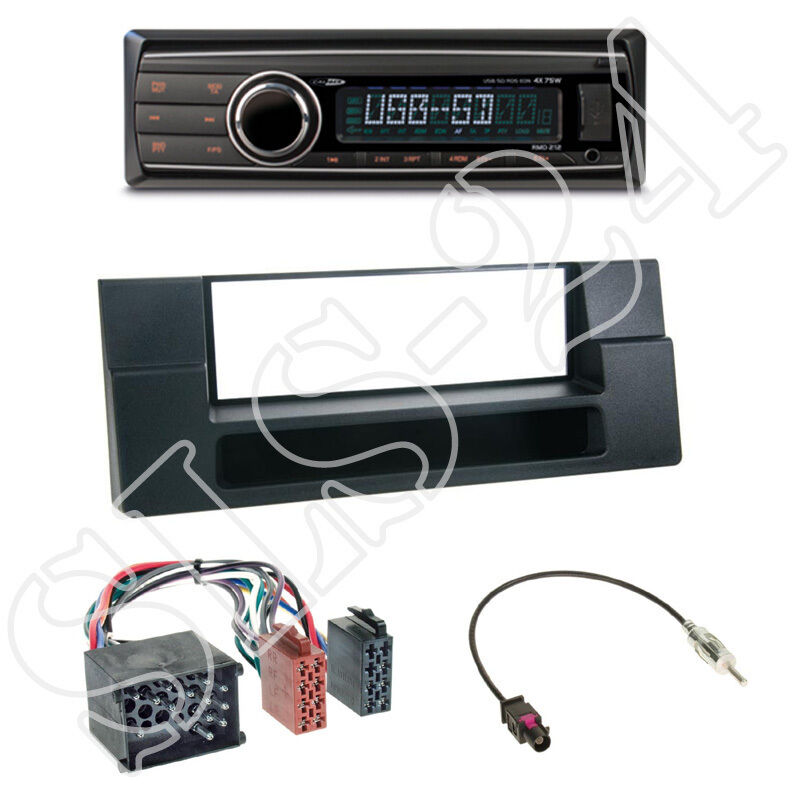 caliber rmd212 autoradio bmw 5er e59 x5 e53 1 din blende black iso adapter ebay. Black Bedroom Furniture Sets. Home Design Ideas