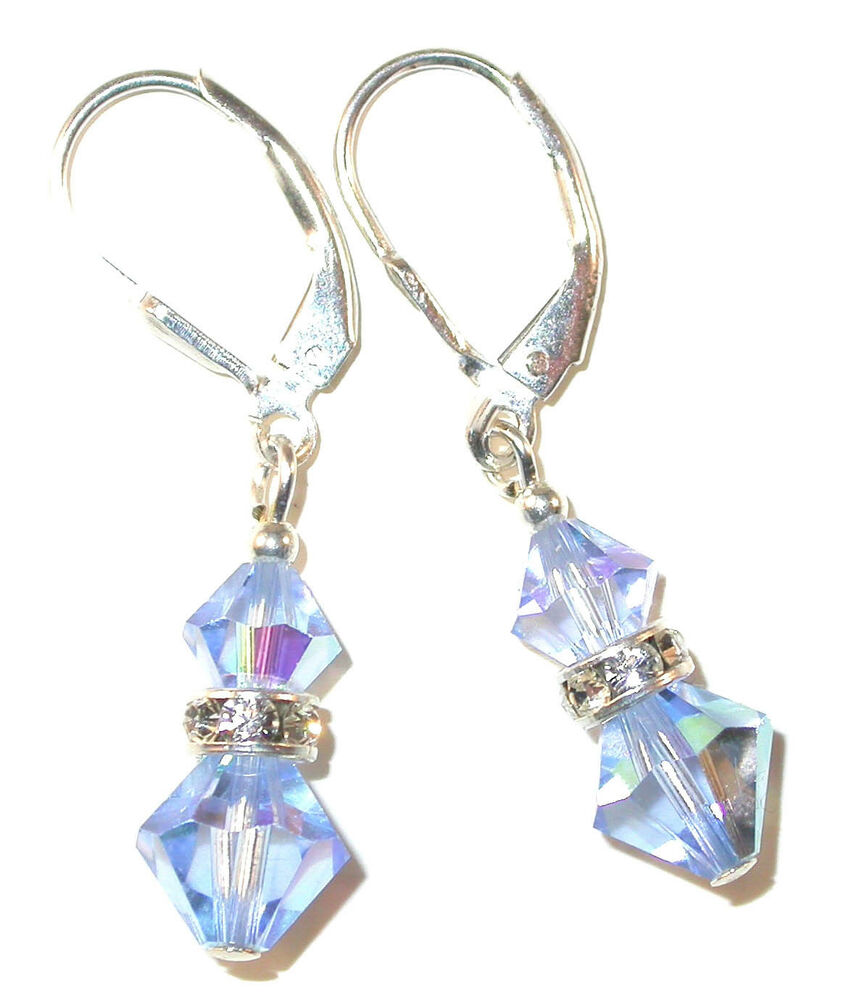 LIGHT SAPPHIRE BLUE Crystal Earrings Sterling Silver ...