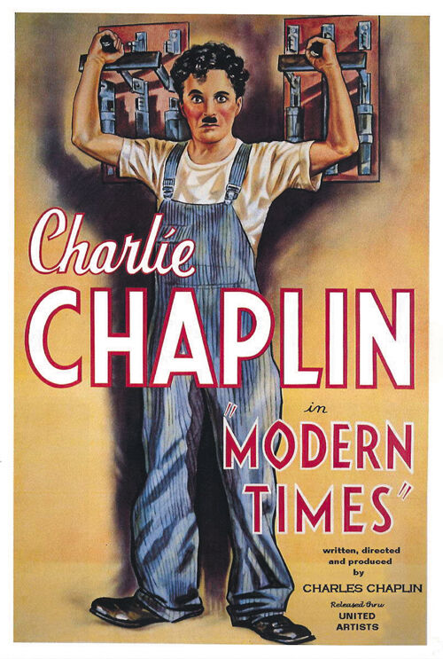 Modern Times (1936) Charlie Chaplin cult movie poster ...