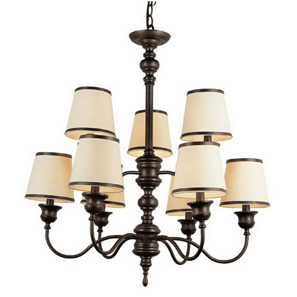 RUBBED OIL BRONZE 9 LIGHT CHANDELIER WITH SHADES