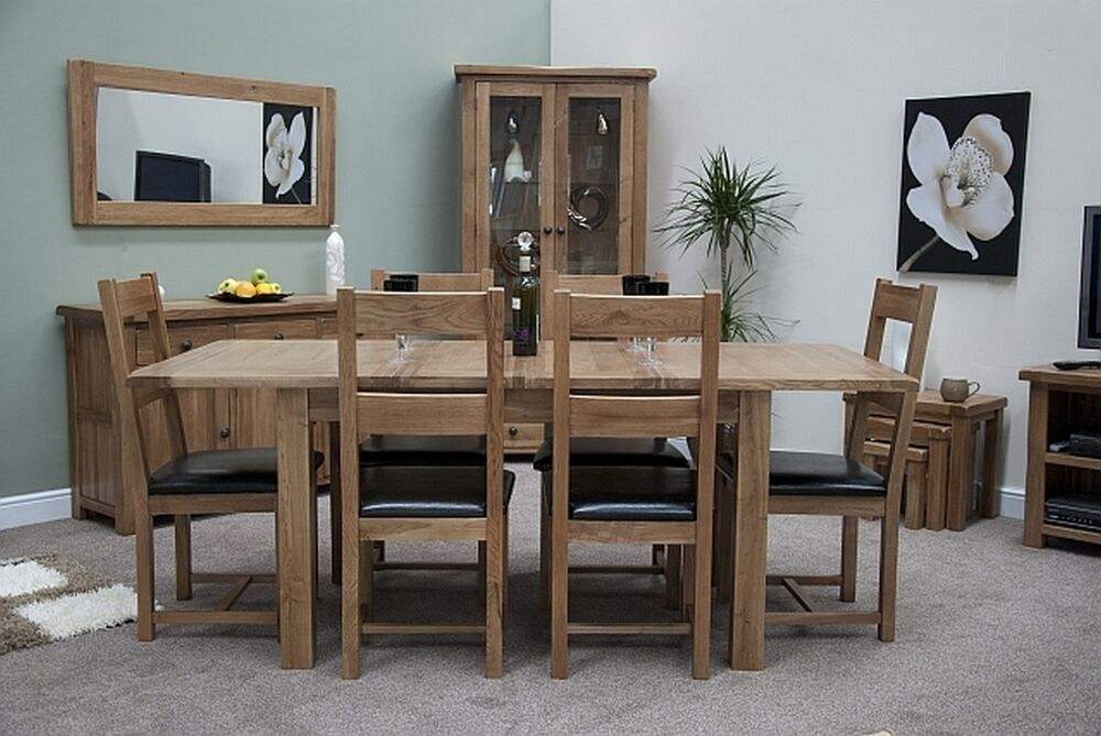 solid oak furniture extending dining table and six chairs set ebay