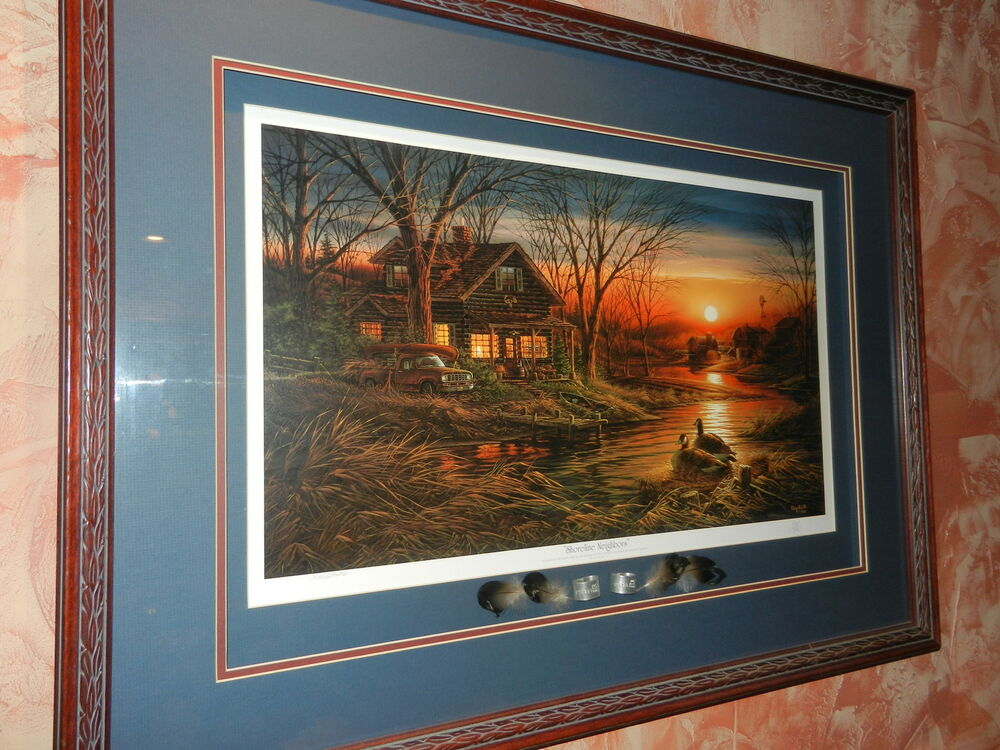 Terry Redlin Shoreline Neighbors Framed Signed Ebay