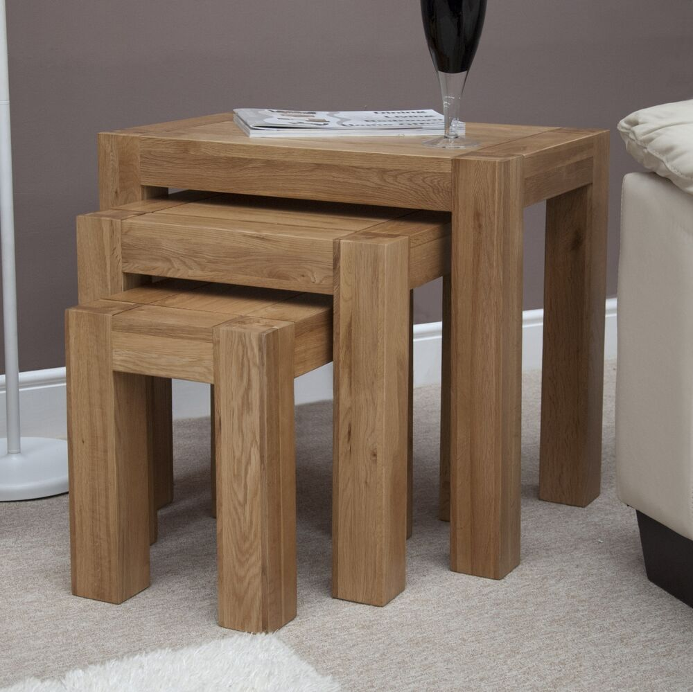 Padova solid oak furniture nest of three chunky coffee for Large chunky coffee table
