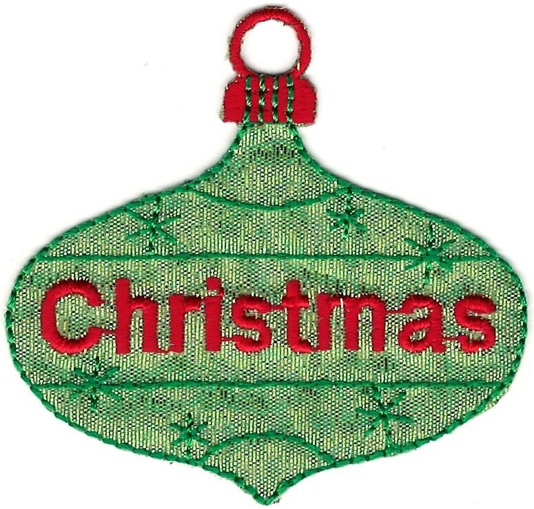 Christmas Tree Patch: Green Christmas Tree Bulb Ornament Holiday Embroidery