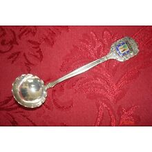 900 Coin Silver Mini Ladle, Spain, Enamel Crest of City of Madrid, 11gr, 4