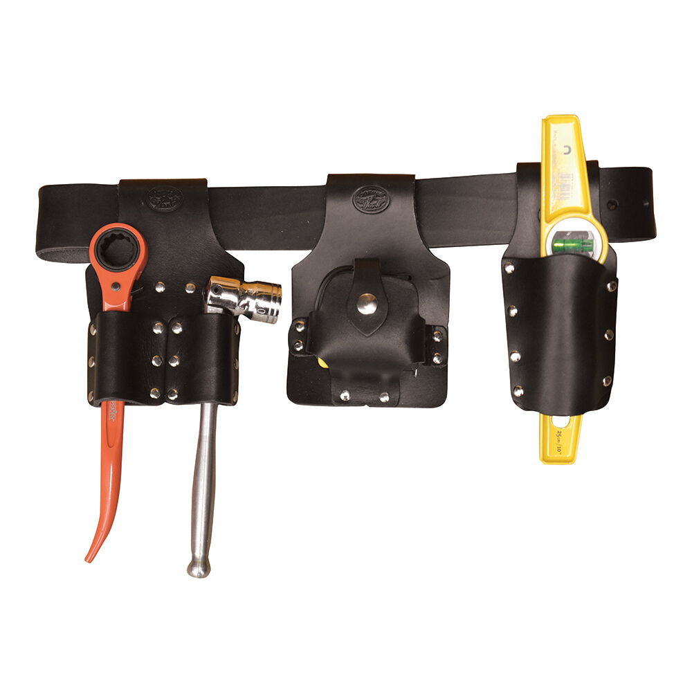 Black Leather Scaffolding Tool Belt Set With Tools