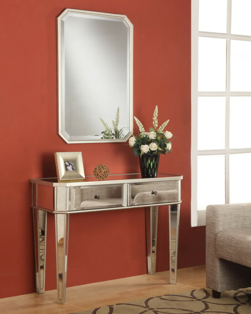 Powell contemporary modern mirrored storage sofa console for Sofa table modern